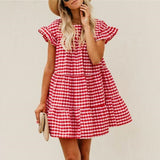 Lovely Round Collar Checked Loose Vacation Dress