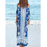 Casual Loose Off-Shoulder Tassel Printed Colour Beach Dresses