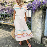 Bohemian V Neck Striped Belted Dress