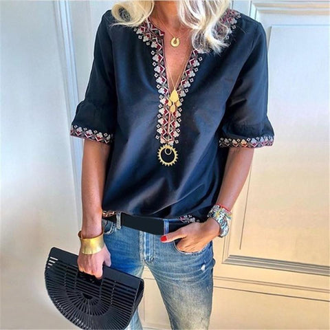 Plus Size Bohemian Printed V Neck Short Sleeve Blouses