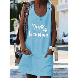 Dog Grandma Crew Neck Women Dresses Shift Cotton-Blend Dresses