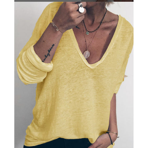 Casual Long Sleeve Solid Color Women Blouse