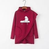 Cat Irregular Long Sleeve Autumn Women Hoodie