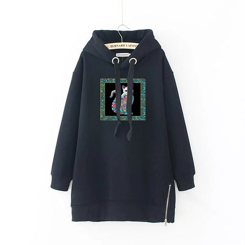 Cat Drawstring Loose Plus Size Long Sleeve Women's Hoodie