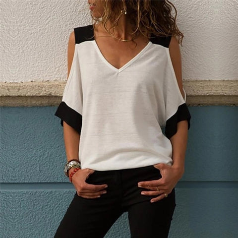Cold Shoulder V Neck Color Block Shirt Sleeve Tee Top