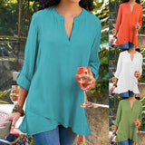 Casual Solid Color V-Neck Long-Sleeved Shirt