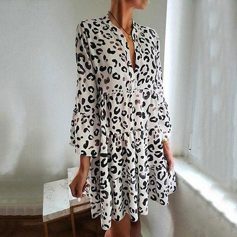 Women Casual Leopard Printed  Pleated Splicing Dresses