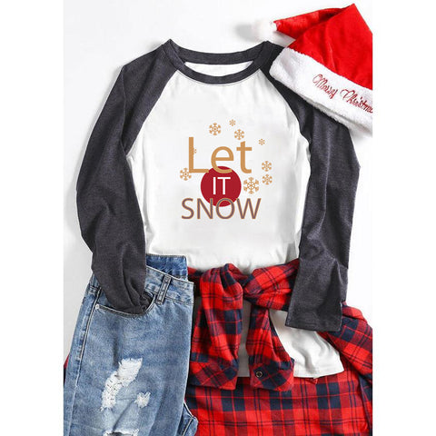Let It Snow Christmas Holiday Women's Letter Sweatshirts