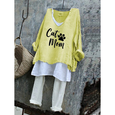 Cat Mom Letter Summer Loose Plus Size T-Shirt Set