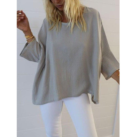 Casual 3/4 Sleeve Round Neck Plus Size Shirt