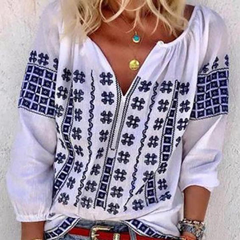 White 3/4 Sleeve Floral Printed Plus Size Crew Neck Blouse