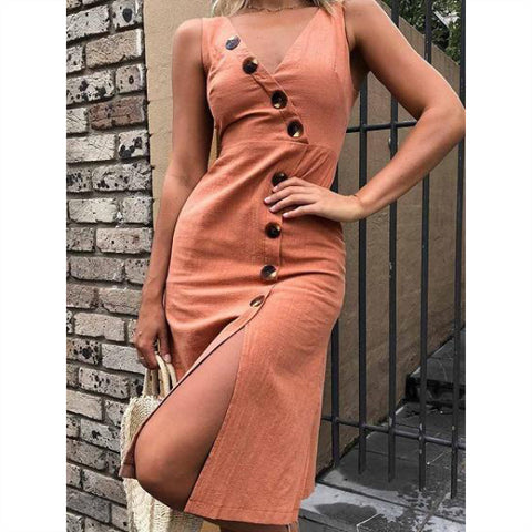 V-neck Button Placket Front Chic Women Midi Dress