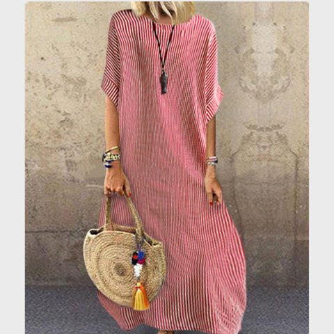Fashion Striped Round Neck Casual Half Sleeve Dress