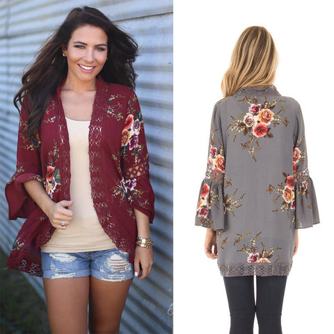 New Lace Stitching Print Cardigan Kimonos