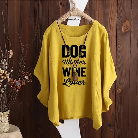 Dog Mother Wine Lover Irregular Fashion Solid Short Sleeved Vintage Blouse