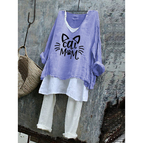 Cute Cat Mom Summer Loose Plus Size T-Shirt Set