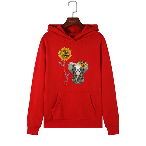 Sunflower Elephant Loose Letter Long Sleeve Hoodie