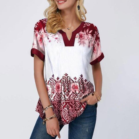 Women's V-neck Floral Printed T-shirt