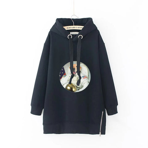 Space Suit  Dog Women Plus Size Long Sleeve Hoodie