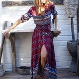 Floral Printed Bohemian Beach Dress V Neck Split Long Dress