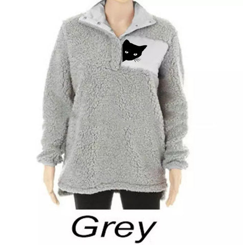 Peeking Cat Winter Women's Cat Plus Size Sweater