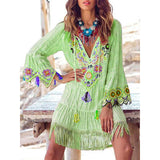 Hippie Floral Embroidered Swing Beach Casual Dress