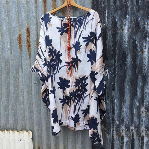 Plus Size Loose Printed Blouse