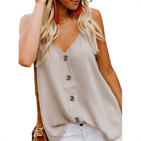 Women's Casual V Neck Button Down Strappy  Tank Tops Summer Sleeveless Blouses