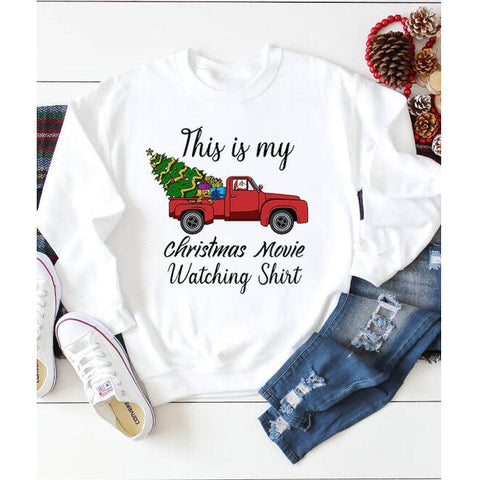 This Is My Christmas Movie Watching Shirt Autumn Christmas Holiday Women's Sweatshirts