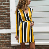 Casual Deep V Striped Belted Bodycon Dresses