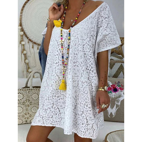 Plus Size V Neck Bohemian Lace Dress