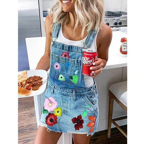 Women Summer Denim Square Neck Printed Dresses