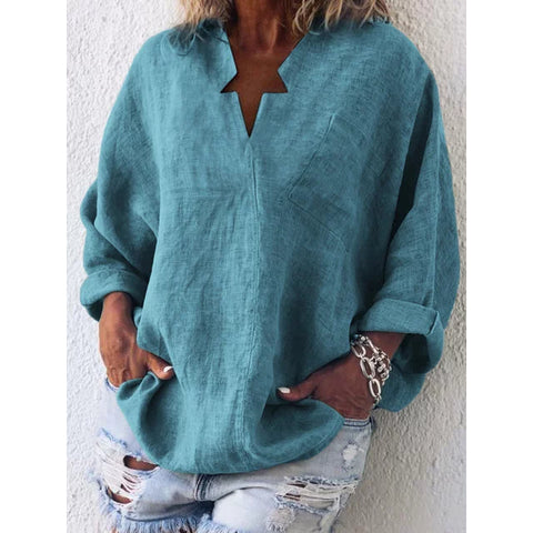 Casual Long Sleeve Plain Plus Size Blouses