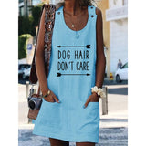 Dog Hair Don't Care Crew Neck Women Dresses Shift Cotton-Blend Dresses