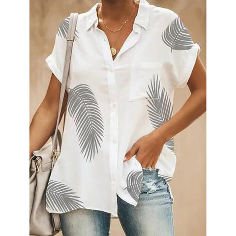 Casual Turndown Single-Breasted Short Sleeve Collar Printed  Blouse