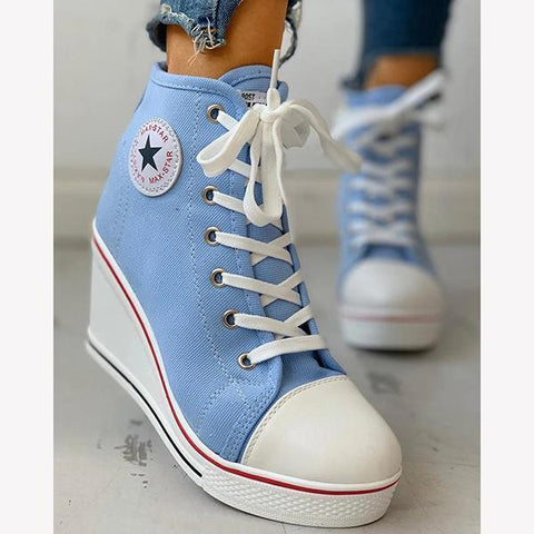 Women Lace-up Platform Wedge Sneakers