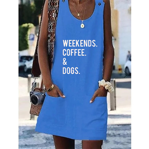 Weekends Coffee & Dogs Crew Neck Women Dresses Shift Cotton-Blend Dresses