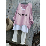 Cat Mom Women Summer Loose Plus Size T-Shirt Set