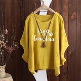 Dog Grandma Irregular Fashion Solid Short Sleeved Vintage Blouse