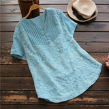 Plus Size  Pleated Embroidered Tunic Top
