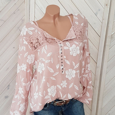 Summer Plus Size Long Sleeve Printed Stitching Shirt