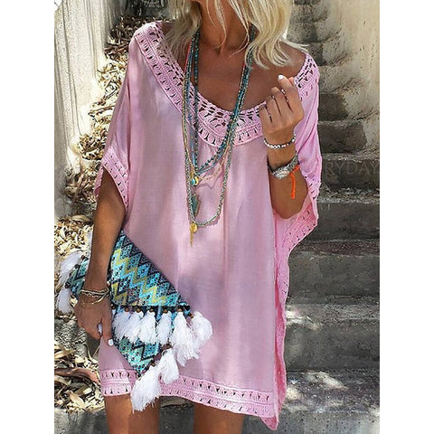 Women Summer Plus Size Dress Boho Solid Half Sleeve Vacation Dress