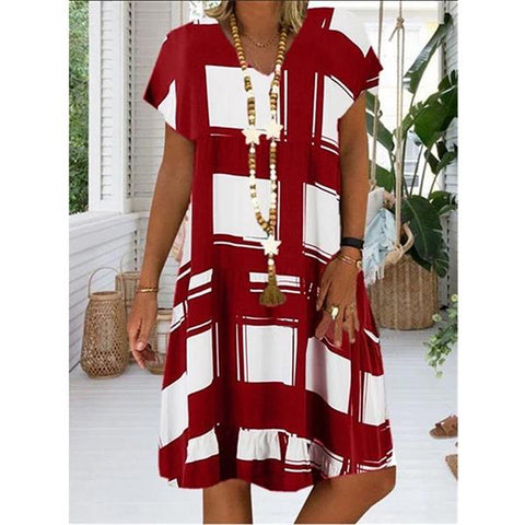 Summer Women Grided Printed Casual Holiday Dresses