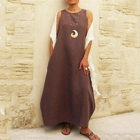 New Loose Plus Size Solid Color Round Neck Summer Dress