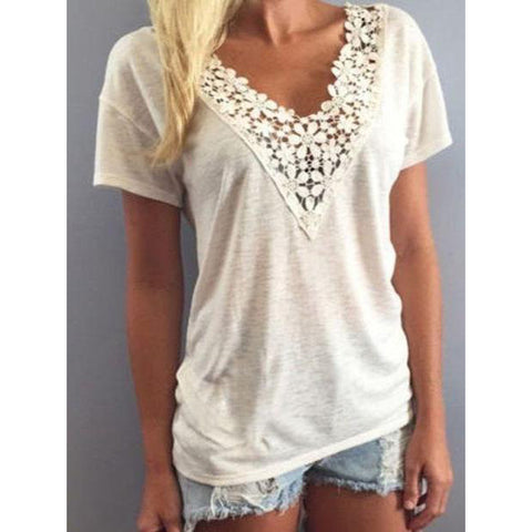 Women Loose Soft Lace T-shirt Blouse V-neck Short Sleeve Top