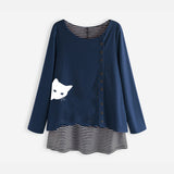 Peeking Cat Plus Size Fake Two Long Sleeve Autumn Women's Sweatshirts