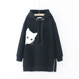 Peeking Cat Autumn Loose Long Sleeve Women's Hoodie