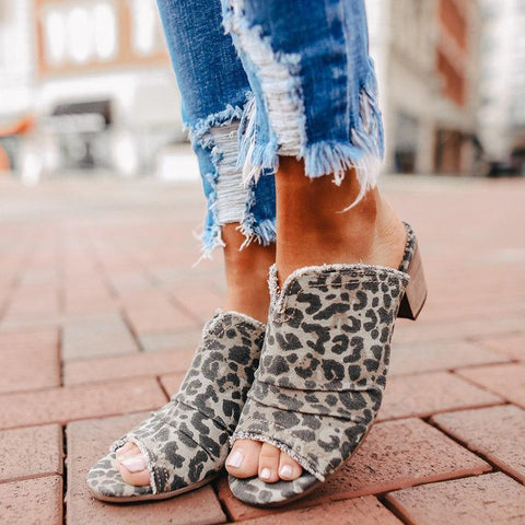Women Casual Denim Comfy Peep Toe Mules