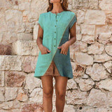 Casual Patchwork Short Sleeve Crew Neck Romper Jumpsuit