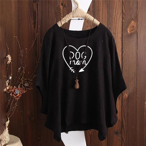 Dog Mon Letter Irregular Fashion Solid Short Sleeved Vintage Blouse